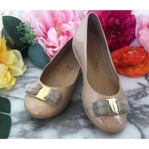 Salvatore Ferragamo Girls Varina Mini Patent Flats